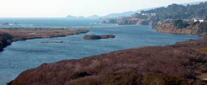 Gualala River estuary, full to the brim after the rains begin, October, 2004